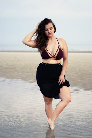 magenta Forever 21 swimwear - black sheer maxi H&M skirt