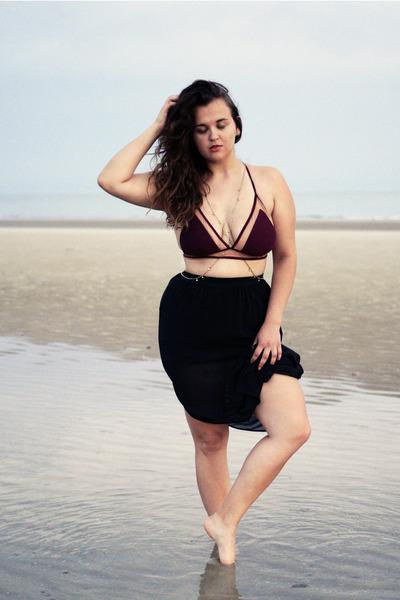 magenta Forever 21 swimwear - black sheer maxi H&M skirt