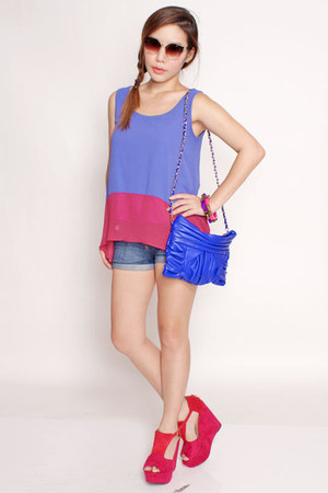 blue clutch Flauntcc bag - navy denim shorts cotton on shorts