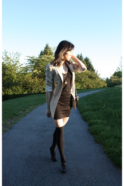 black Alexander Wang dress - beige Zara blazer - gold Chanel accessories - brown