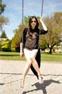 Light-pink-diy-shorts-black-asos-cardigan-charcoal-gray-junk-food-t-shirt-