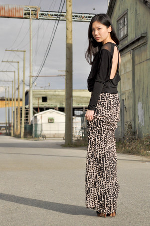 black asos top - camel H&M skirt - black Dolce Vita heels