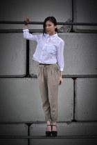 white DIY shirt - dark khaki wilfred pants - black Jeffrey Campbell wedges