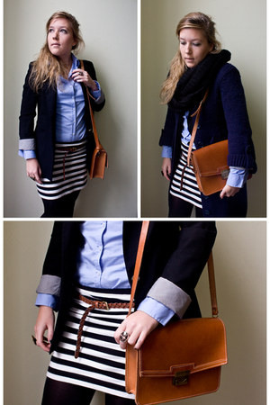 H&amp;M skirt - H&amp;M belt - Maket bag - Zara blazer - A am Six ring - Zara blouse
