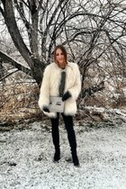 white Bebe coat - heather gray rag & bone sweater - white kate spade bag
