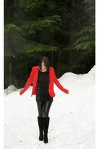 black H&M leggings - black Wee Who See boots - red Marc by Marc Jacobs blazer