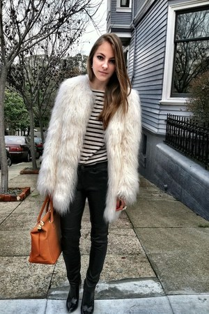 white Bebe jacket - black Zara boots - blue mariniere St James sweater