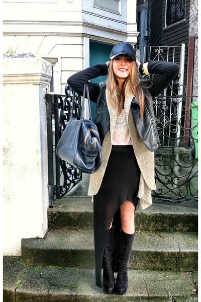 black BP boots - black H&M hat - black Forever21 jacket