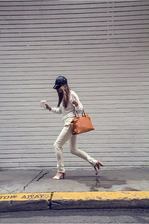 white nastygal sweater - black H&amp;M hat - ivory A Moveable Feast pants