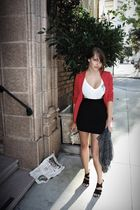red Marc by Marc Jacobs blazer - white 012 t-shirt - black Forever 21 skirt - bl