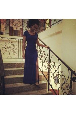 blue Forever 21 dress - black leather franco sarto flats