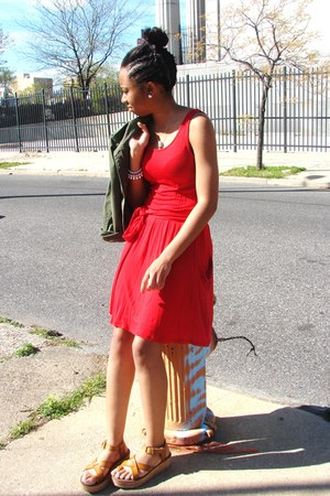 red MNG dress - military jacket jacket - sandals Report sandals