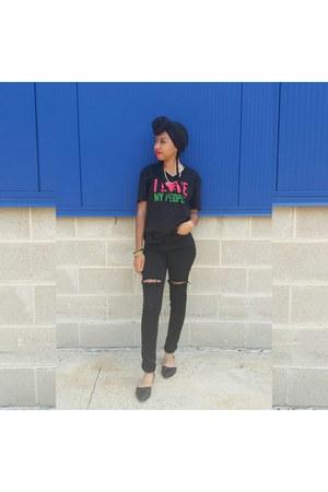 black diy ripped Topshop jeans