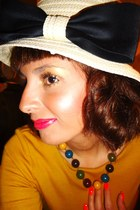 yellow H&M dress - bow Forever 21 hat - green unknown necklace