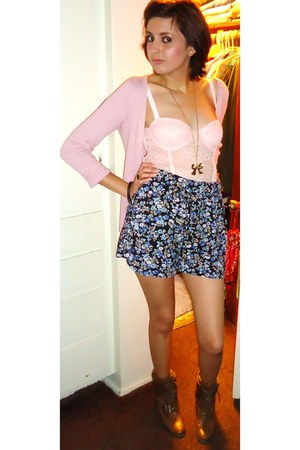 brown Forever 21 boots - floral print Forever21 shorts - pink unknown cardigan -