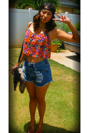 floral crop top - shorts