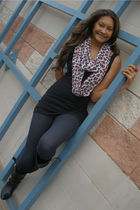 Wedding Caf scarf - Forever 21 top - Forever 21 boots - Ikandy accessories