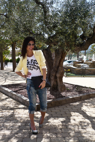 yellow primak blazer - boyfriend Bershka jeans - Zara t-shirt
