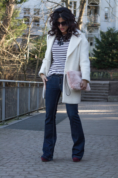 flared Stradivarius jeans - Pimkie coat - Zara bag