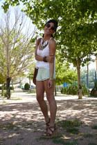Lefties necklace - Lefties shorts - Bershka top - Primark wedges