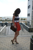 orange Zara skirt - stripes Lefties t-shirt - leopard Primark heels