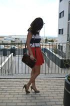 orange Zara skirt - stripes Lefties t-shirt - leopard Primark heels