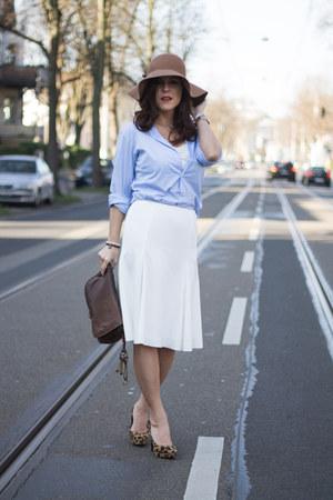 midi Zara skirt - Primark hat - leopard print h&m divided heels