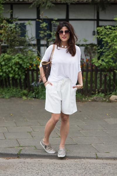 bermuda Pimkie pants - Louis Vuitton bag - slip on H&M sneakers