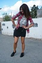 zipper Lefties skirt - cut out Lefties boots - tartan Lefties shirt