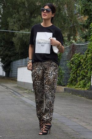 Zara t-shirt - leopard print Primark pants - Lefties heels