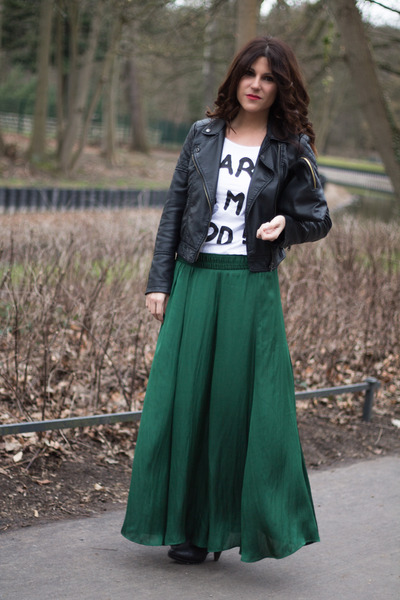 long skirt Zara skirt - biker suiteblanco jacket