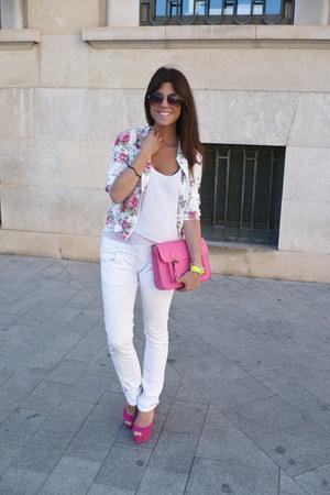 floral print suiteblanco jacket - Bershka shirt - Zara pants - Zara heels