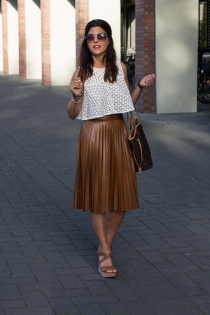 Zara skirt - Louis Vuitton bag - crop top Zara top