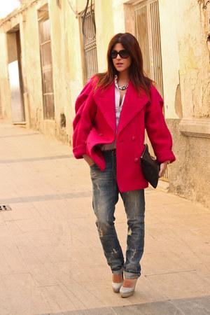 vintage c&a coat - boyfriend jeans Bershka jeans
