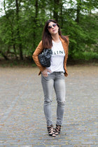 ripped Stradivarius jeans - Bershka blazer - Lefties heels