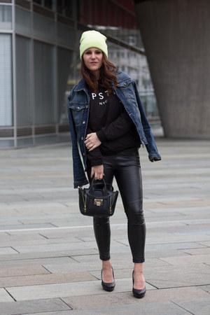 denim Zara jacket - Zara leggings - Pimkie bag - Mango jumper