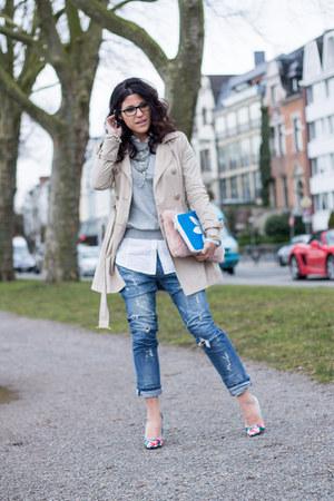 trench coat suiteblanco jacket - boyfriend jeans Bershka jeans - Primark heels