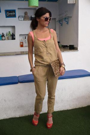 coral Primark heels - leopard print Lefties bag - Stradivarius bodysuit