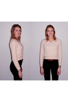 black asoscom jeans - peach cardigan - charcoal gray heels
