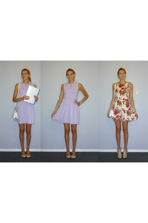 light purple asos dress - eggshell handmade dress - neutral asos flats