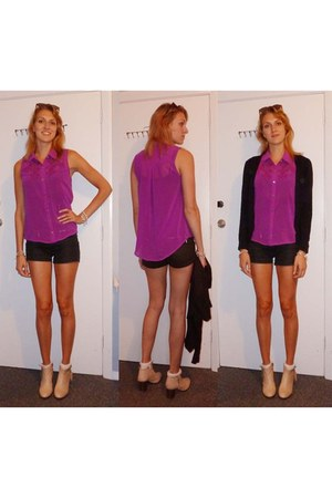 magenta cotton on shirt - black H&M shorts - black Glassons cardigan