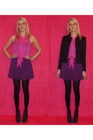purple chiffon handmade skirt - black jennyfer blazer