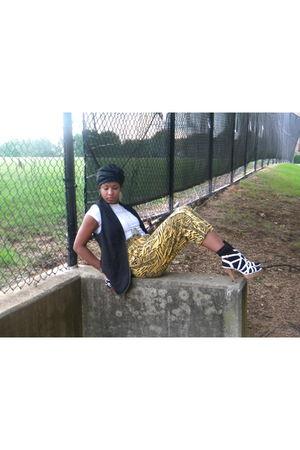 gold thrifted pants - black Forever 21 vest - white Bakers shoes - black BCBG ha