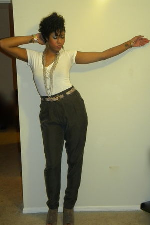 white Forever 21 shirt - gray Forever 21 pants - beige shoes - silver accessorie