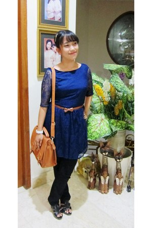 blue layered Debenhams dress - tawny sling bag bonita bag