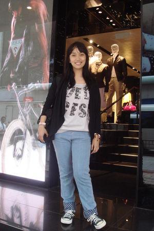 black unbranded cardigan - silver korean branded t-shirt - blue hongkong branded
