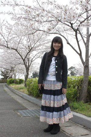 black Atmosphere blazer - white Esprit shirt - sky blue Japanese brand skirt
