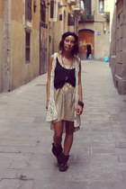 golden dress H&M dress - lace vest second hand vest