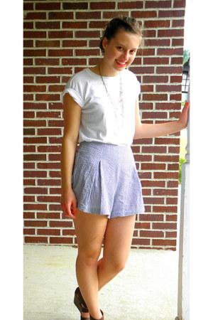 light blue American Apparel shorts - white Hanes t-shirt