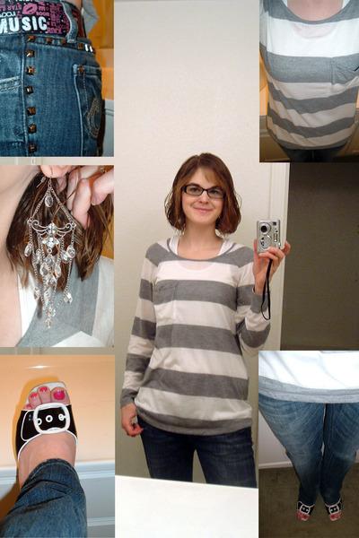 white JC Penney top - blue Express jeans - black JC Penney shoes - Vanity belt -